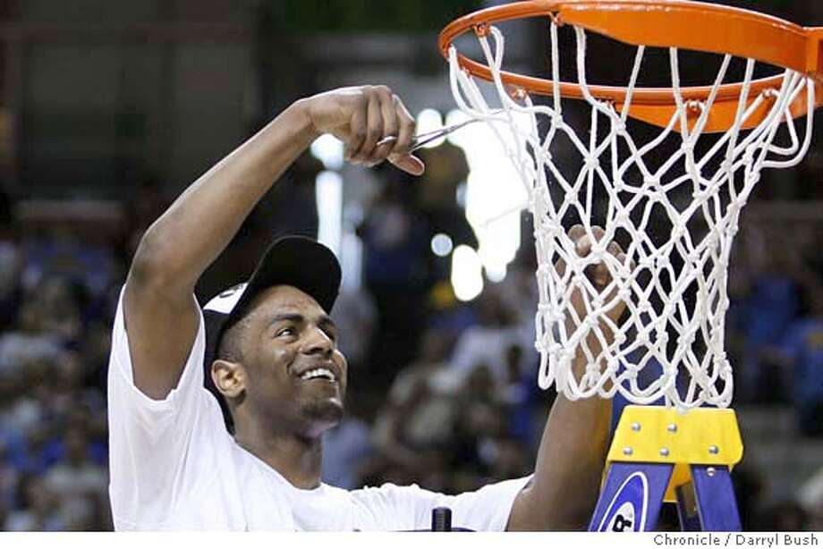 UCLA's Arron Afflalo (4) cuts the net after victory over Kansas; UCLA vs. Kansas at the NCAA West Regional final game at HP Pavilion in San Jose, CA, on Saturday, March, 24, 2007. photo taken: 3/24/07  Darryl Bush / The Chronicle ** roster (cq) Photo: Darryl Bush