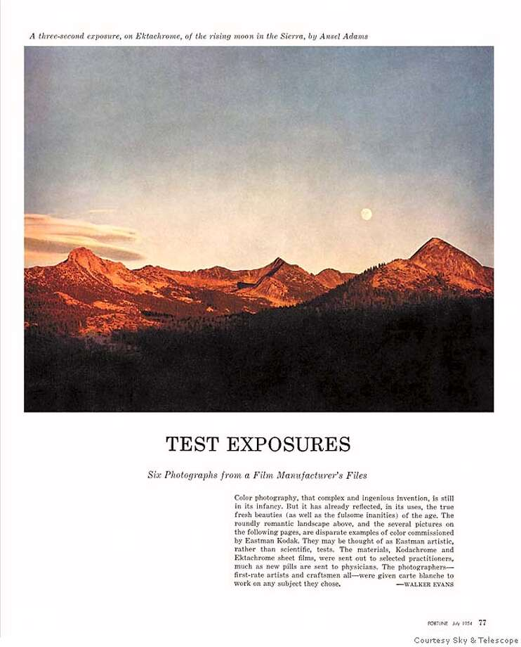 "This image of the page must be reproduced in full -- you may not crop out any part of it, and you especially may not lift the Ansel Adams image it contains and run it alone. We have permission from the Trust to display the Ansel Adams on the Fortune page only if the *entire* page on which it sits is reproduced, so that it is immediately clear that this is a reproduction of a magazine page, not a stand-alone piece of Ansel Adams' work. Reproducing the page in black  and white is not a problem as long as you reproduce the whole page.  Please run the credit line ""Courtesy Sky & Telescope"" in connection with  the Fortune magazine page. Photo: Sky & Telescope"