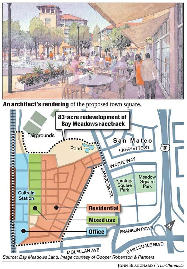 An architect�s rendering of the proposed town square. Chronicle graphic by John Blanchard