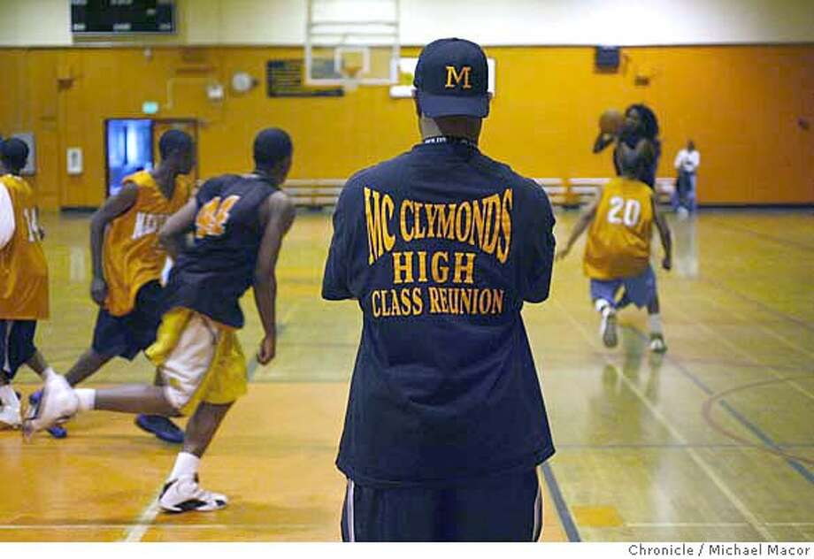 mcclymonds_269_mac.jpg Assistant coach Brandon Brooks is a 1978 alumni of the school. McClymonds High School of Oakland, plays for the state basketball championship against Fairfax High School on Saturday night in Sacramento. Mcclymonds barely hads 400 students, Fairfax has more than 3,000. A contrast of the two school and how different they really are. Photographed in, Oakland, Ca, on 3/22/07. Photo by: Michael Macor/ The Chronicle Ran on: 03-23-2007  Ernest Brooks, an assistant McClymond's coach and former player, watches the team practice as they prepare to face Fairfax High School in the state championship game. Photo: Michael Macor