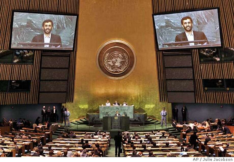 Iranian president Mahmoud Ahmadinejad speaks during the 60th session of the General Assembly Saturday, Sept. 17, 2005 at the United Nations in New York. (AP Photo/Julie Jacobson) Ran on: 09-18-2005  Iran President Mahmoud Ahmadinejad addresses the U.N. General Assembly on the topic of his country's nuclear program. Photo: JULIE JACOBSON