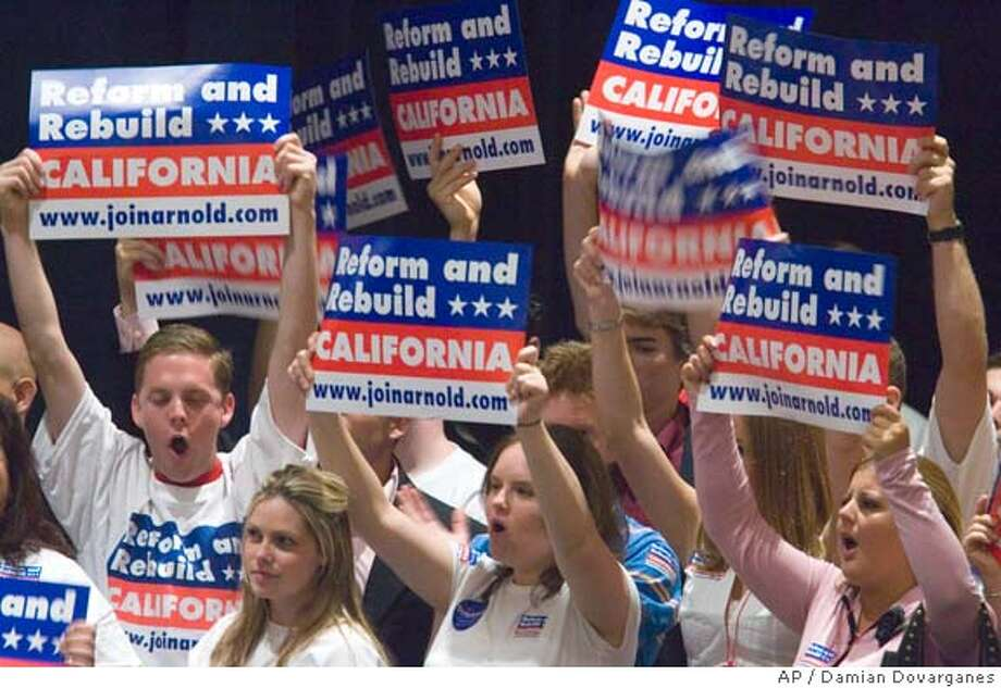 Young Republicans cheer for California Gov. Arnold Schwarzenegger, not shown, as he addresses the state Republican convention in Anaheim, Calif., Saturday, Sept. 17, 2005. Schwarzenegger announced last Friday he'll seek re-election in the Nov. 2006 election. (AP Photo/Damian Dovarganes) Photo: DAMIAN DOVARGANES