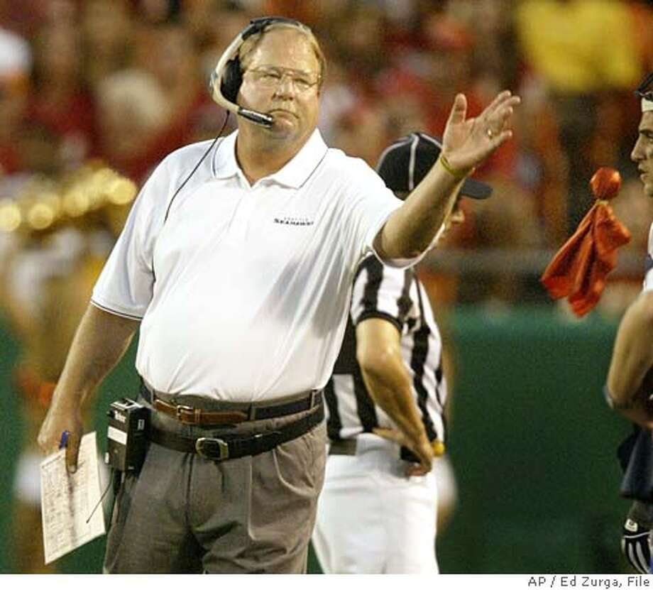 Seattle Seahawks coach Mike Holmgren throws a red flag during the first quarter against the Kansas City Chiefs at Arrowhead Stadium in Kansas City, Mo., Saturday, Aug. 27, 2005. The re-play officials ruled in favor of the Seahawks on the play. (AP Photo/Ed Zurga) Photo: ED ZURGA