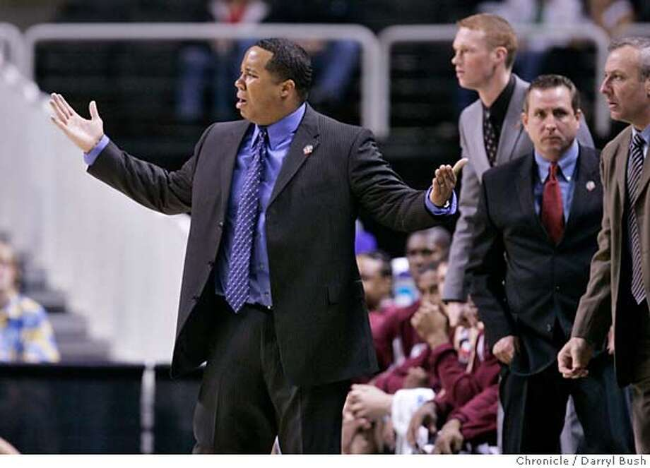 ncaawestsemi_1_0002_db.JPG  Southern Illinois head coach Chris Lowery complains when a dunk is allowed by Kansas with the time clock expiring 1st half, Southern Illinois vs. Kansas for the NCAA West Regional semifinal game at HP Pavilion in San Jose, CA, on Thursday, March, 22, 2007. photo taken: 3/22/07  Darryl Bush / The Chronicle ** roster (cq) MANDATORY CREDIT FOR PHOTOG AND SF CHRONICLE/NO SALES-MAGS OUT Photo: Darryl Bush