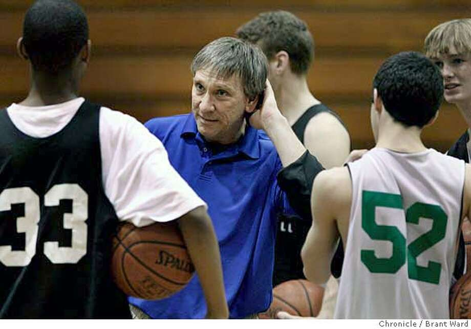 branson088.JPG  Branson boys coach Jonas Honick discussed their practice plans two days before the championship game.  In a remarkable prep achievement, both men and women will be playing in the California state championship from Branson High School in Ross, CA. Both teams practiced at nearby College of Marin Wednesday to prepare for the Friday games. {Brant Ward/San Francisco Chronicle}3/21/07 Ran on: 03-23-2007  Jonas Honick discusses practice plans with his Branson High boys basketball team two days before the championship game. Photo: Brant Ward