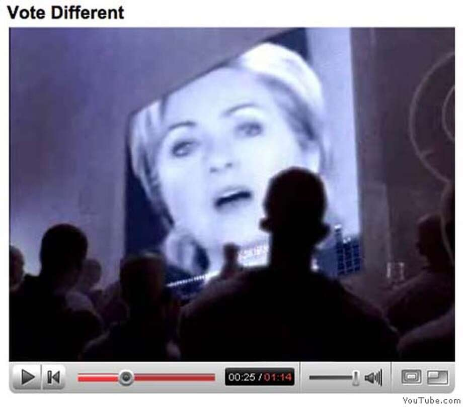 """Frame grab from YouTube.com showing the """"Hillary 1984"""" video, which transforms an old Apple TV commercial into an ad touting Barack Obama's presidential campaign. COURTESY YOUTUBE  Ran on: 03-20-2007  Images from YouTube.com show the &quo;Hillary 1984&quo; video, which transforms an old Apple TV commercial introducing the Macintosh computer during the 1984 Super Bowl into an ad touting Barack Obama's campaign.  Ran on: 03-20-2007  Images from YouTube.com show the &quo;Hillary 1984&quo; video, which transforms an old Apple TV commercial introducing the Macintosh computer during the 1984 Super Bowl into an ad touting Barack Obama's campaign. Photo: COURTESY YOUTUBE"""