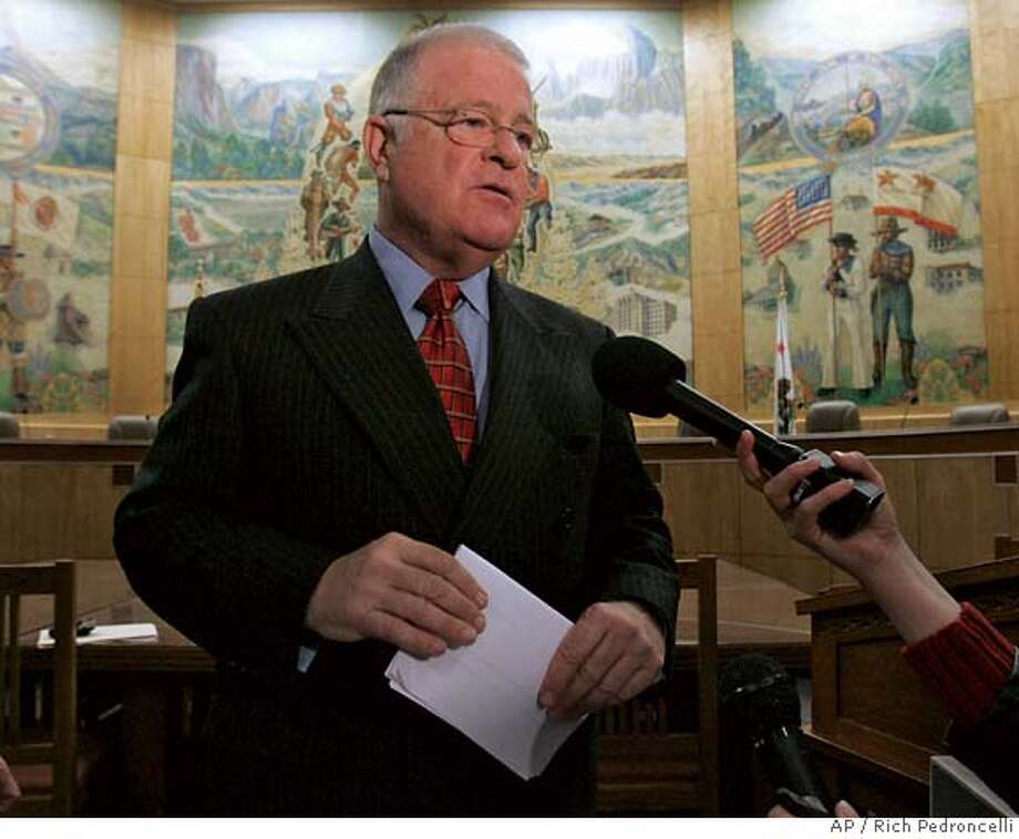 State Sen. President Pro Tem Don Perata, D-Oakland, talks with reporters about the outlines of a health care reform plan at a Capitol news conference in Sacramento, Calif., Tuesday, Dec. 12, 2006. (AP Photo/Rich Pedroncelli)  Ran on: 12-28-2006  Don Perata  Ran on: 12-28-2006  Don Perata Photo: Rich Pedroncelli