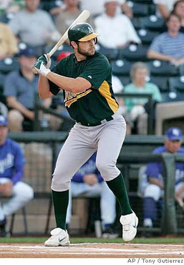 Oakland Athletics' Bobby Crosby waits for a pitch in the first inning from Kansas City Royals' Brian Bannister in a spring training baseball game in Surprise, Ariz., Wednesday, March 21, 2007. Crosby grounded out to second on the at-bat. (AP Photo/Tony Gutierrez) EFE OUT Photo: Tony Gutierrez