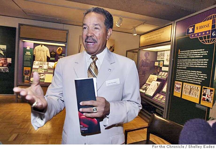 {filename} On {date} in {city}.  Jaun Marichal attends a press day at the Oakland Museum's new exhibit about the Baseball Hall of Fame.  Chronicle Photo by Shelley Eades