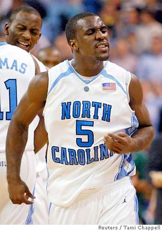 University of North Carolina guard Ty Lawson reacts in the closing minutes of his team's win against Michigan State University in the second half of their NCAA Second Round East Regional basketball game in Winston-Salem, North Carolina March 17, 2007. REUTERS/Tami Chappell (UNITED STATES) 0 Photo: TAMI CHAPPELL