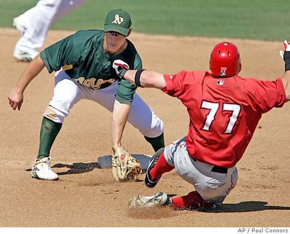 Oakland Athletics second baseman Mark Ellis, left, fields the throw and prepares to tag out Los Angeles Angels' Reggie Willits, right, on a steal attempt in the fourth inning of a split-squad spring training baseball game Sunday, March 18, 2007, in Phoenix.(AP Photo/Paul Connors) Photo: Paul Connors