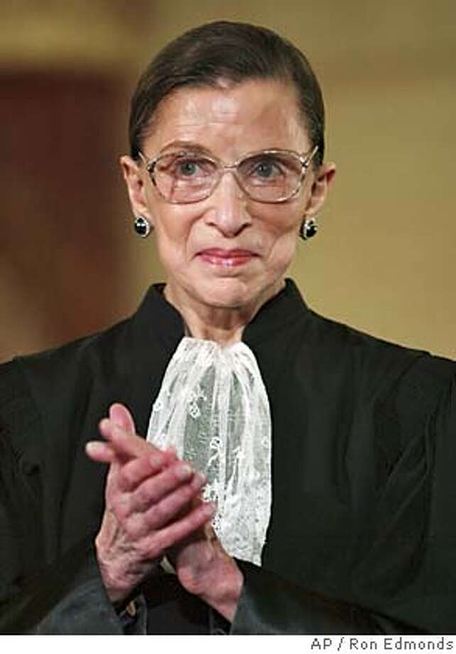 Surpreme Court Justice Ruth Bader Ginsburg watches President Bush speak at the swearing-in ceremony, Friday, Jan. 28, 2005, for the incoming Secretary of State Condoleezza Rice at the State Department in Washington. (AP Photo/Ron Edmonds) Ran on: 09-04-2005 Photo: RON EDMONDS
