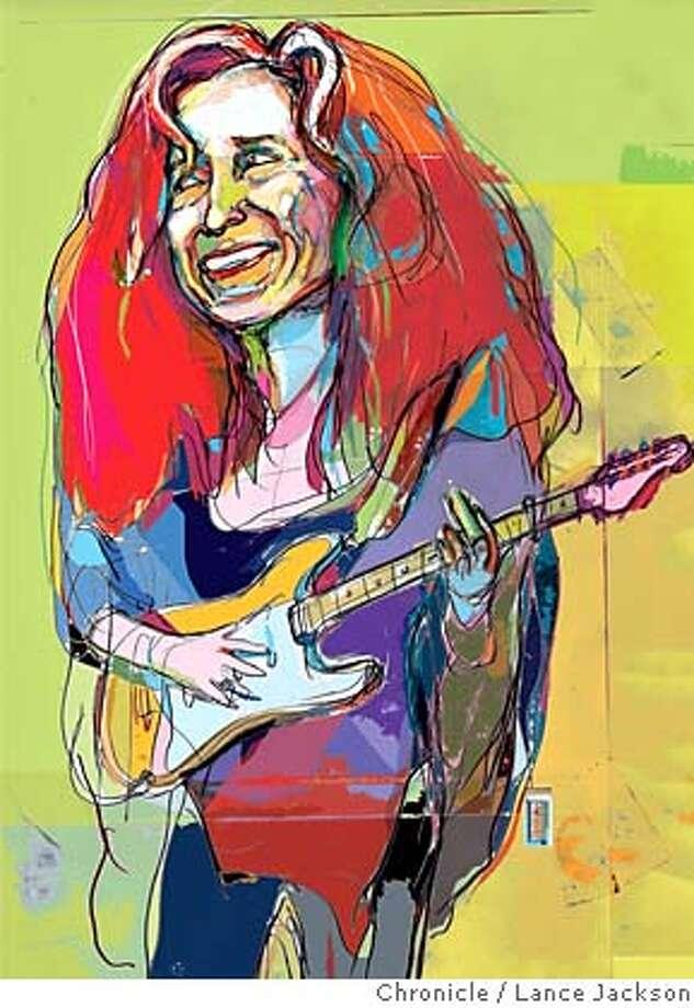 Bonnie Raitt. Chronicle illustration by Lance Jackson