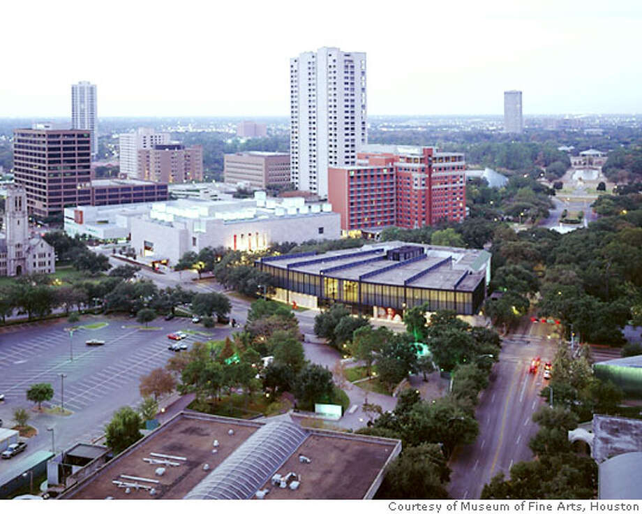 The downtown campus of the Museum of Fine Arts, Houston, includes the Beck and Law buildings (foreground). Credit: Courtesy the Museum of Fine Arts, Houston Photo: Courtesy The Museum Of Fine Arts