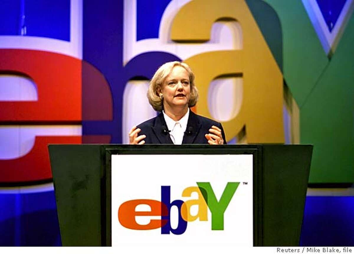 Meg Whitman, president and CEO of EBAY, delivers her keynote address to attendees at Comdex 2001 in Las Vegas in this November 14, 2001 file photo. EBay has agreed on September 12, 2005 to buy fast-growing Internet start-up Skype for up to $4.1 billion in cash and shares, in a move to tap new sources of growth and add free Web telephone calls to its online auctions. REUTERS/Mike Blake/Files 0