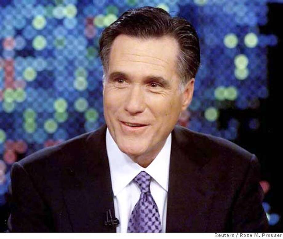 "Republican presidential candidate Mitt Romney is interviewed on ""Larry King Live"" at the CNN studios in Los Angeles, California, March 15, 2007. REUTERS/Rose M. Prouser/CNN/Handout (UNITED STATES). EDITORIAL USE ONLY. NOT FOR SALE FOR MARKETING OR ADVERTISING CAMPAIGNS. NO ARCHIVES. NO SALES. EUO NARCH NOSALES Photo: HO"