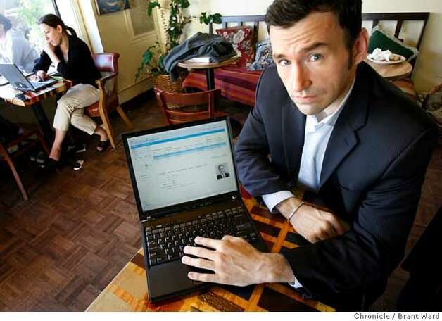 Ryan Howard, CEO of PracticeFusion shows off the website at a local internet cafe in San Francisco.  A San Francisco start-up company called PracticeFusion has signed a deal with Google to offer physicians and medical groups a free Web-based medical records system funded by advertising.  {Brant Ward/San Francisco Chronicle}3/15/07 Ran on: 03-16-2007  Practice Fusion CEO Ryan Howard shows off his company's Web site at an Internet cafe. Photo: Brant Ward