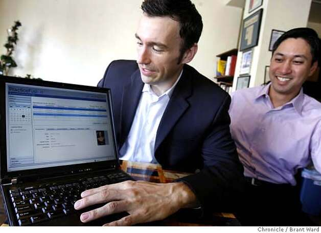 healthtech153.JPG  Ryan Howard, CEO if PracticeFusion, left and COO Alan Fong, show off the merits of their new medical records system.  A San Francisco start-up company called PracticeFusion has signed a deal with Google to offer physicians and medical groups a free Web-based medical records system funded by advertising.  {Brant Ward/San Francisco Chronicle}3/15/07 Photo: Brant Ward