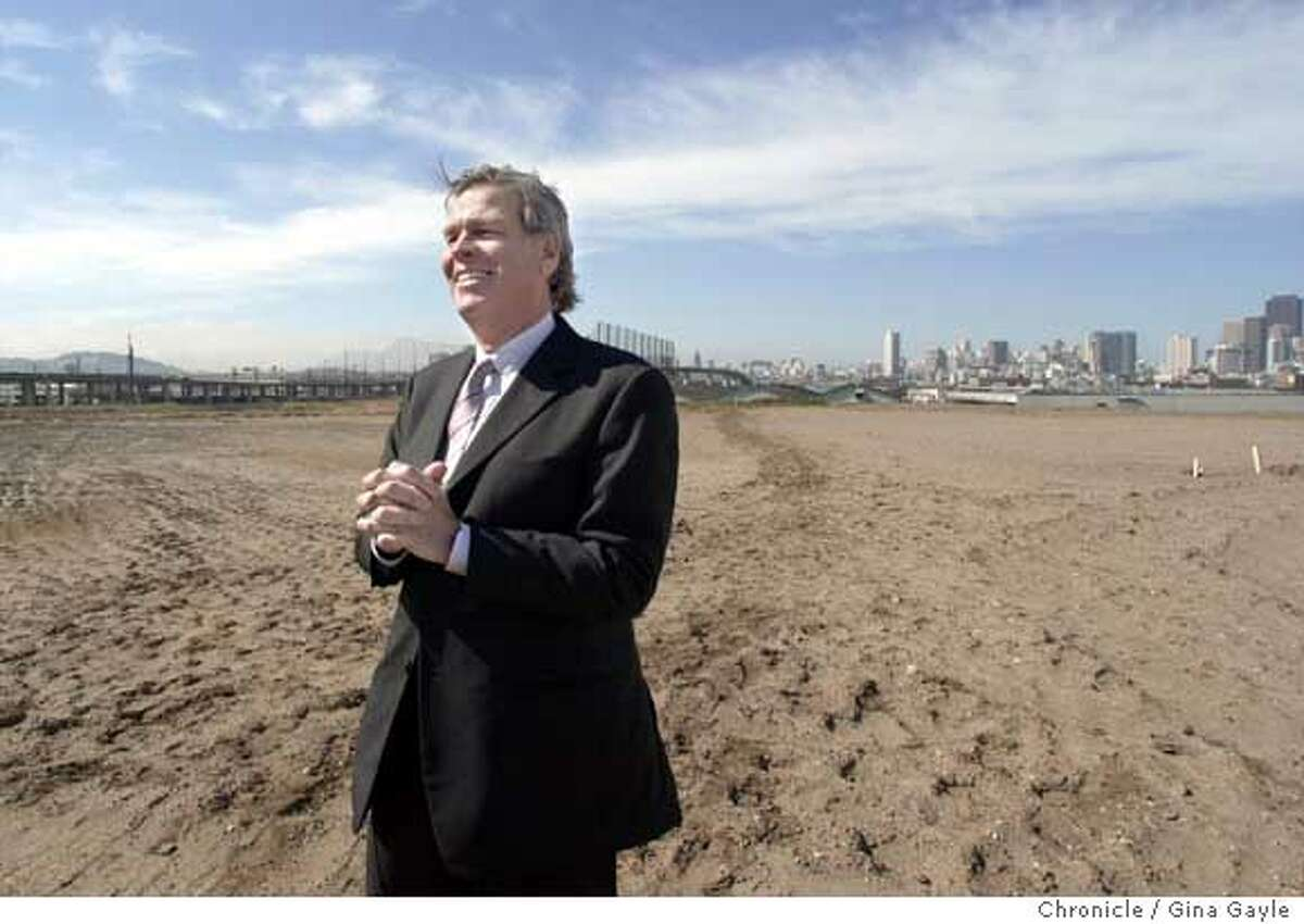 Nelson Rising, executive in charge of making Mission Bay work standing in front on part of the 43 acre site for UCSF, University of California San Francisco. Photo by Gina Gayle/The SF Chronicle.