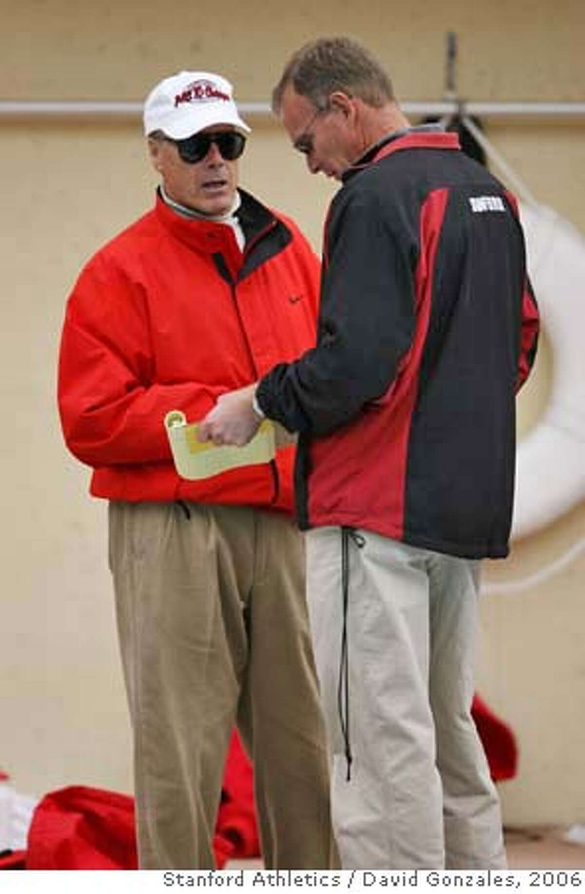 18 February 2006: Head coach Skip Kenney with Ted Knapp during Stanford's 136-107 win over the California Golden Bears at the Avery Aquatic Center in Stanford, CA. Photo by David Gonzales/Stanford Athletics