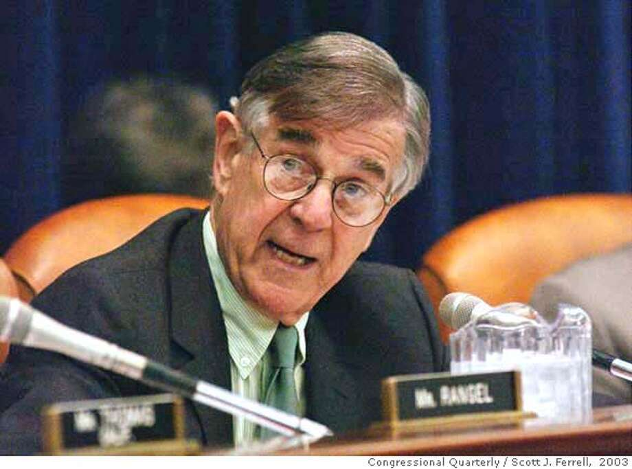 5/6/03  WAYS AND MEANS MARKUP--Rep. Pete Stark, D-Calif., defends his amendment during the House Ways and Means markup of the Jobs and Growth Tax Act of 2003.  CONGRESSIONAL QUARTERLY PHOTO BY SCOTT J. FERRELL [Photo via Newscom] Photo: Scott J. Ferrell