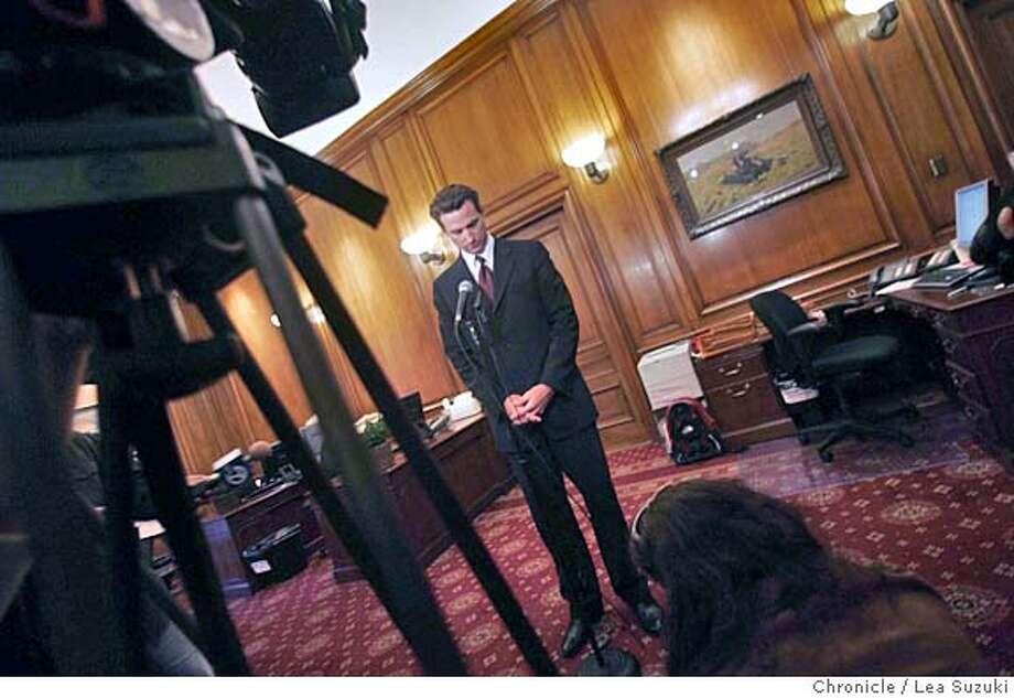 samesexnewsom024.JPG Gavin Newsom press conference responding to Gov. Schwarzenegger saying he won't sign measure that would legalize same-sex nuptials in California. Photo taken on 9/7/05 in San Francisco, CA. Photo by Lea Suzuki/ The San Francisco Chronicle Photo: Lea Suzuki