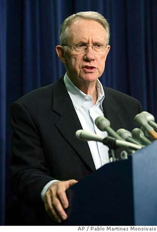 Senate Minority leader Sen. Harry Reid, D-Nev. holds a press conference at the Capitol Building Monday, Sept. 5, 2005 in Washington. (AP Photo/Pablo Martinez Monsivais) Photo: PABLO MARTINEZ MONSIVAIS
