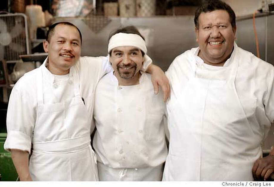 "Photo of left-right: Quang Nguyen, Carlos Garcia and Mario Gonzalez. The Zuni cafe kitchen prep team of Quang Nguyen, Mario Gonzalez and Carlos Garcia. Chef-owner, Judy Rodgers calls them her ""secret weapon"" in her restaurant arsenal. These three have been working together more than a decade to help produce food at Zuni Cafe.  Event on 8/16/05 in San Francisco. Craig Lee / The Chronicle Photo: Craig Lee"