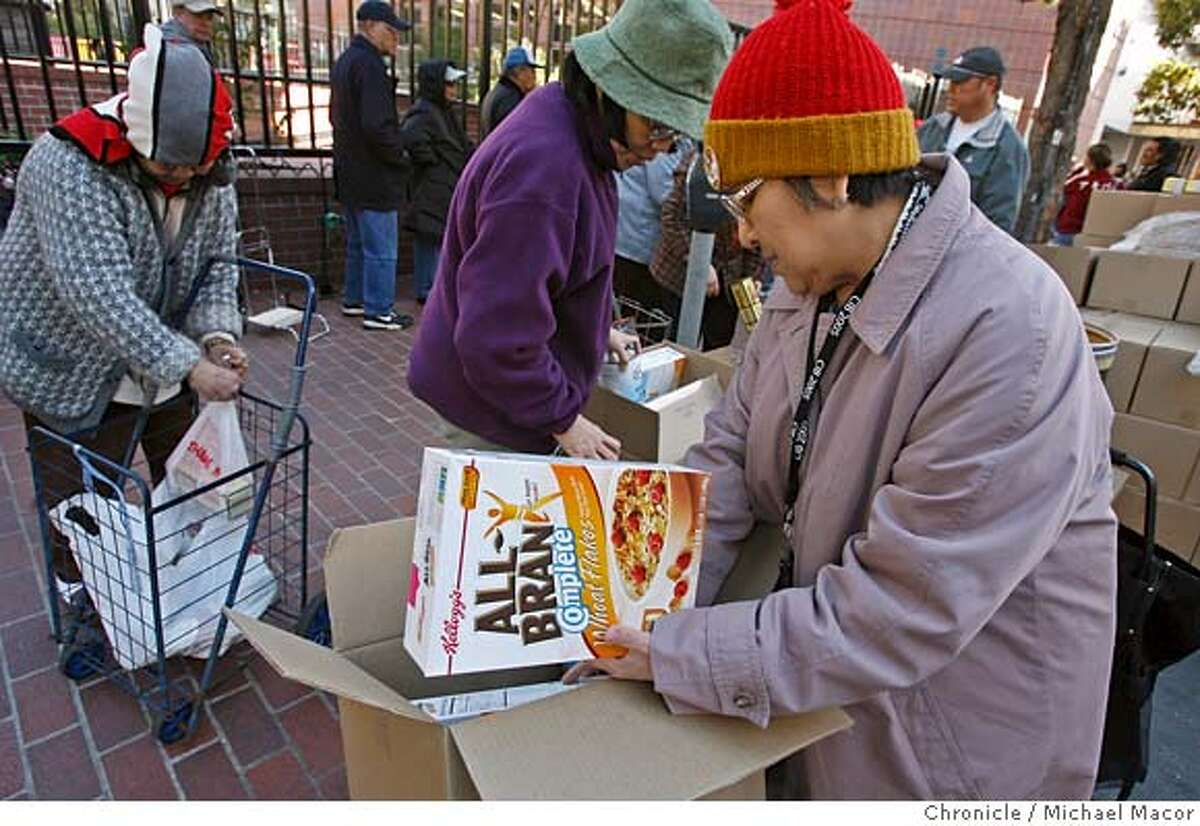 food_078_mac.jpg Elisa Benedicto tranfers here food box to a rolling cart to get the items back home. People line up at the Boedekker Recreation Center in the Tenderloin along Eddy St. to receive their monthly food boxes. Presdient Bush has proposed eliminating the program that gives monthly food boxes of healthy items to hundreds of thousands of low-income senior citizens around the country- including about 10,000 in San Francisco . Photographed in, San Francisco, Ca, on 3/2/07. Photo by: Michael Macor/ San Francisco Chronicle Mandatory credit for Photographer and San Francisco Chronicle No sales/ Magazines Out