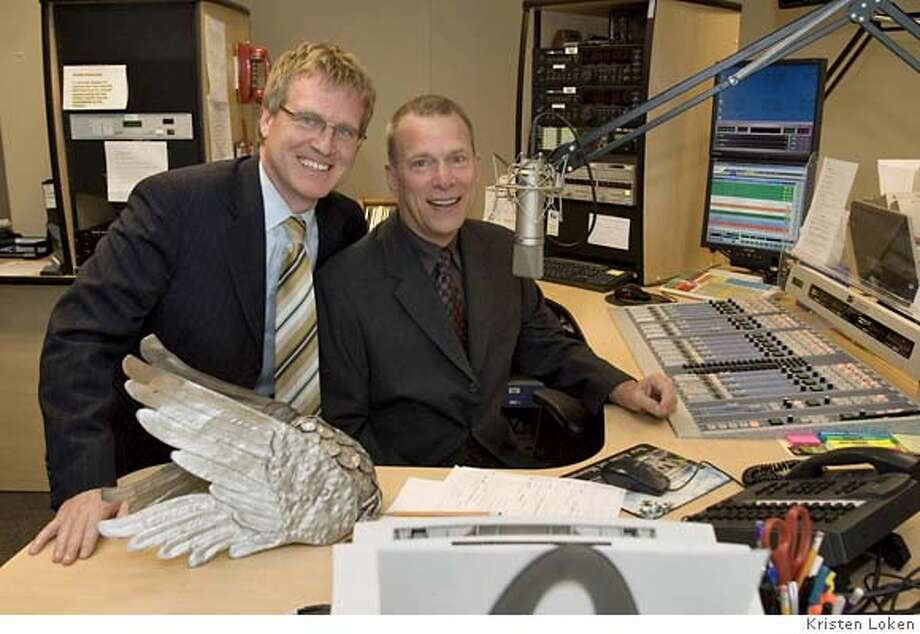 Photo of San Francisco Opera General Director David Gockley & KDFC Program Director Bill Lueth (Lueth has the glasses and blue shirt) at KDFC. Photo by Kristen Loken Photo: Kristen Loken