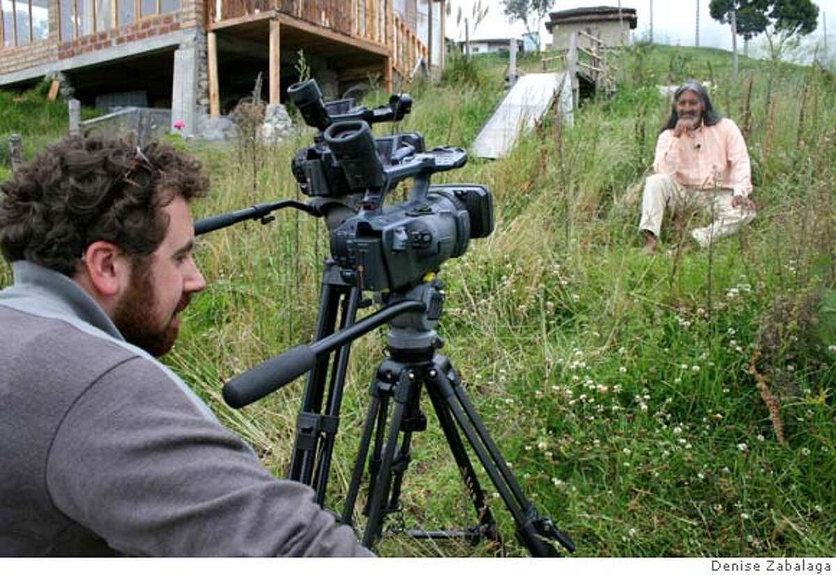 Emmanuel Vaughan-Lee of the Global Oneness Project shoots an interview with Don Alberto Taxo, a Quitcha shaman in Membrilla, Ecuador.