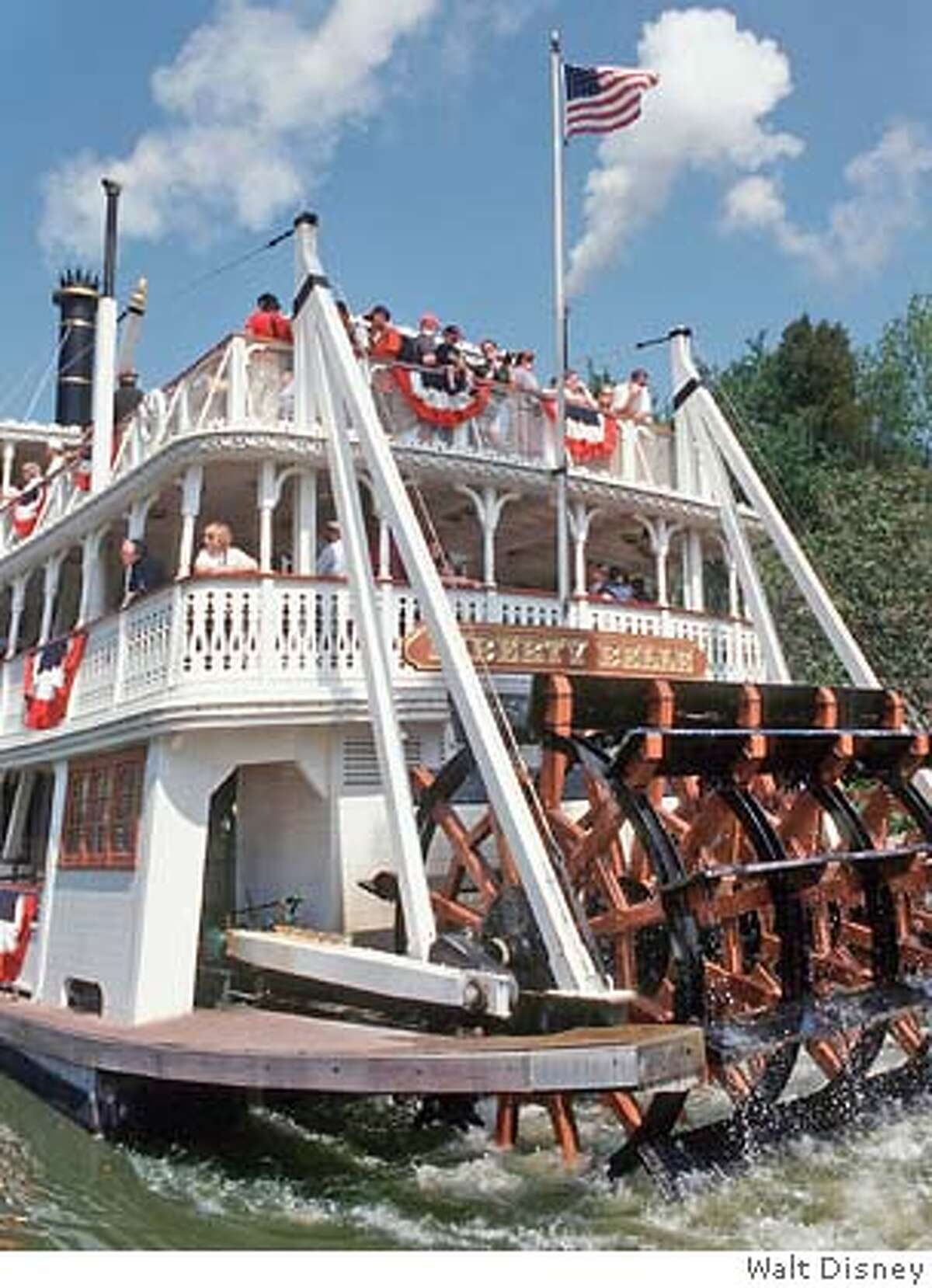TRAVEL DISNEY -- STEAMIN' AROUND THE BEND - The Liberty Belle Riverboat makes it's way along the Rivers of America in Frontierland, in the Magic Kingdom at Walt Disney World Resort in Lake Buena Vista, Fla. The Magic Kingdom has seven themed lands for guest to enjoy. J3-53