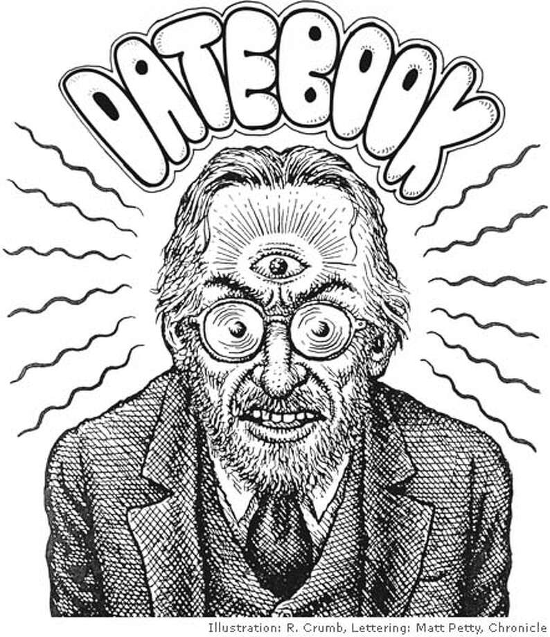 Sunday Datebook Cover: R. Crumb self-portrait. Lettering by Matt Petty, the Chronicle (with apologies to R. Crumb)