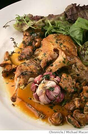 David Tanis : Chez Panisse. Chef's dish- Pan Roasted Quail with New Garlic, Thyme, Chanterelles and Garden Lettuces. We're reevaluating the four star restaurants for the cover of the Sept. 4 magazine. 7/28/05 Berkeley, Ca Michael Macor / San Francisco Chronicle Photo: Michael Macor