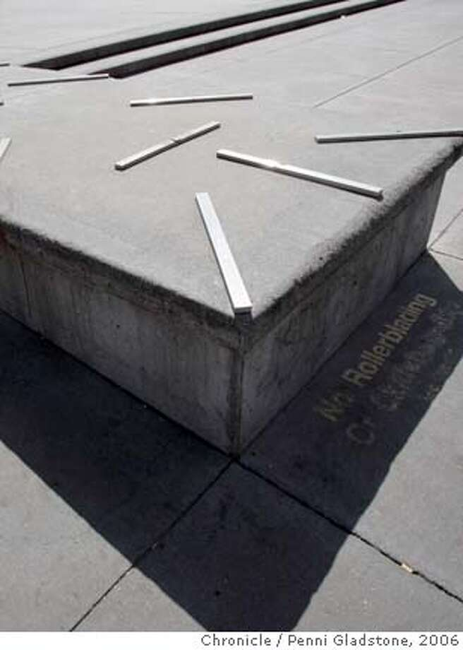 PLACE16 On the Embarcadero, anti-skateboard clips. Column is on the landscape of 2006  photo by penni gladstone, sf chronicle Photo taken on 5/11/06, in Berkeley, CA.  Ran on: 05-16-2006  Clips to prevent skateboarding have become part of the landscape -- although few but skateboarders may have noticed.  Ran on: 03-09-2007  Anti- skateboard clips like these at the Embarcadero put an end to the fun for many skaters in the city. Photo: Penni Gladstone