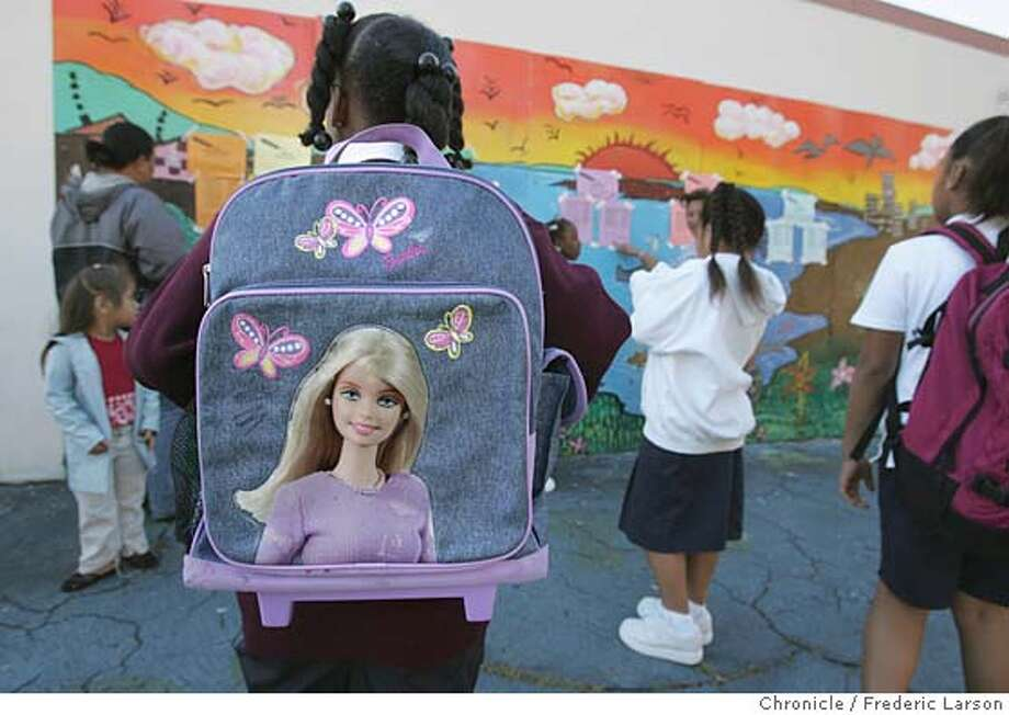 Kids line up for the first day if school in San Francisco.  Photo: Frederic Larson