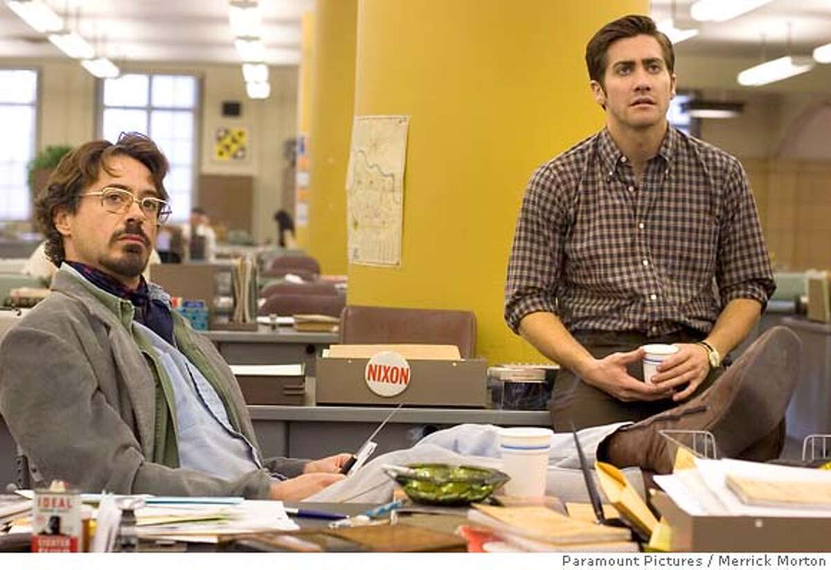 �In this photo provided by Paramount Pictures, Robert Downey Jr. and Jake Gyllenhaal star in