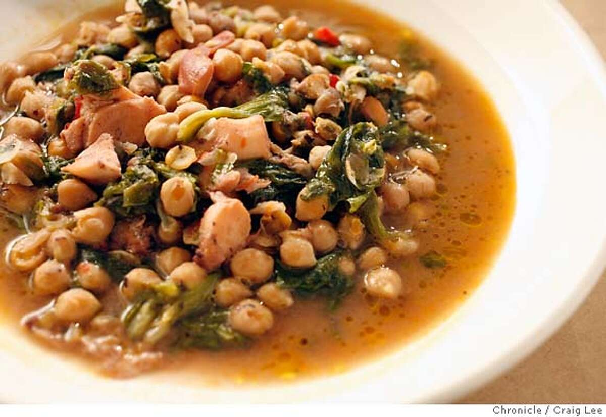 CHEF07_A16_048_cl.JPG Photo for Rising Star Chefs. Photo of Octopus and Ceci Bean Zuppa with Escarole, made by Chef Nate Appleman of A16 Restaurant. Event on 2/22/07 in San Francisco. photo by Craig Lee / The Chronicle MANDATORY CREDIT FOR PHOTOG AND SF CHRONICLE/NO SALES-MAGS OUT