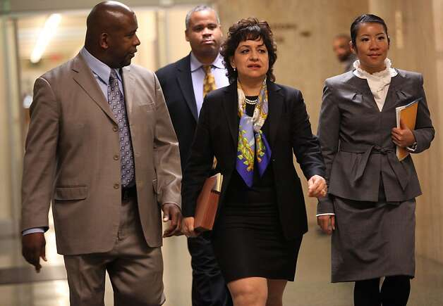 Prosecuter Elizabeth Aguilar Tarchi (middle) in the domestic abuse trial of Sheriff Ross Mirkarimi in San Francisco, Calif., heading to court for the sentencing on Monday, March 19, 2012. Photo: Liz Hafalia, The Chronicle