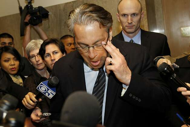 Ross Mirkarimi seemed to wipe a tear away as he talked to the press after his hearing. Ross Mirkarimi appeared in court in San Francisco, Calif for sentencing and then spoke to the press outside the courtroom about his predicament Monday March 19, 2012. Photo: Brant Ward, The Chronicle