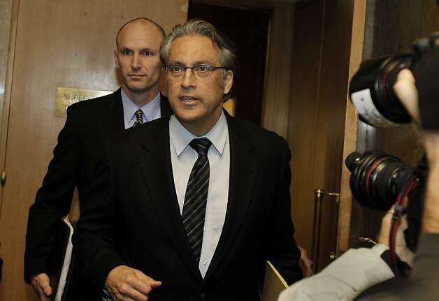 Ross Mirkarimi stepped from the courtroom to a dozens of reporters and cameras. Ross Mirkarimi appeared in court in San Francisco, Calif for sentencing and then spoke to the press outside the courtroom about his predicament Monday March 19, 2012. Photo: Brant Ward, The Chronicle