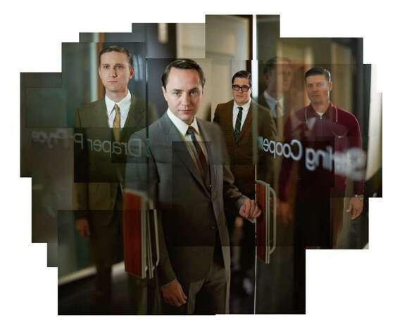 (L-R) Ken Cosgrove (Aaron Stanton), Pete Campbell (Vincent Kartheiser), Harry Crane (Rich Sommer) and Stan Rizzo (Jay R. Ferguson) - Mad Men - Season 5 - Gallery - Photo Credit: Frank Ockenfels/AMC Photo: Frank Ockenfels/AMC