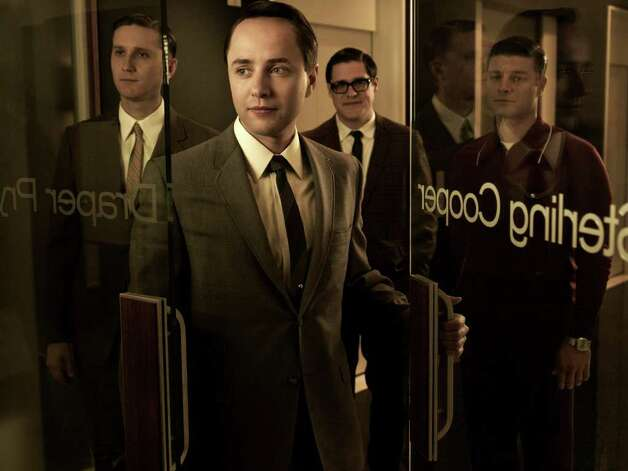 (L-R) Ken Cosgrove (Aaron Stanton), Pete Campbell (Vincent Kartheiser), Harry Crane (Rich Sommer) and Stan Rizzo (Jay R. Ferguson) - Mad Men - Season 5 - Gallery - Photo Credit: Frank Ockenfels/AMC Photo: Frank Ockenfels/AMC / Copyright: AMC 2012