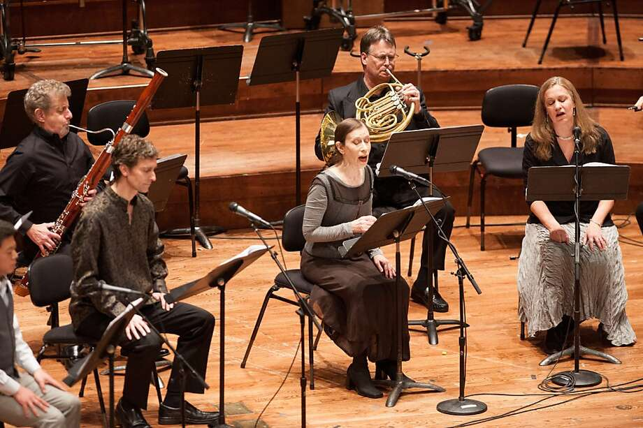"Meredith Monk (center) with members of her vocal ensemble and the SF Symphony performing ""Realm Variations"" 3/18/12 Photo: Kristen Loken"