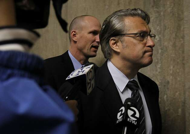 Ross Mirkarimi strode by the press on the way to his sentencing hearing. Ross Mirkarimi appeared in court in San Francisco, Calif for sentencing and then spoke to the press outside the courtroom about his predicament Monday March 19, 2012. Photo: Brant Ward, The Chronicle