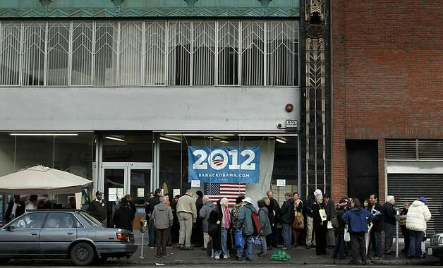 "Obama supporters wait in line to watch the screening of a new campaign film, ""The Road We've Traveled"", as they gather at the Obama for America 2012 headquarters in Oakland, Ca., on Thursday March 15, 2012, for the debut of the film. Photo: Michael Macor, SFC"