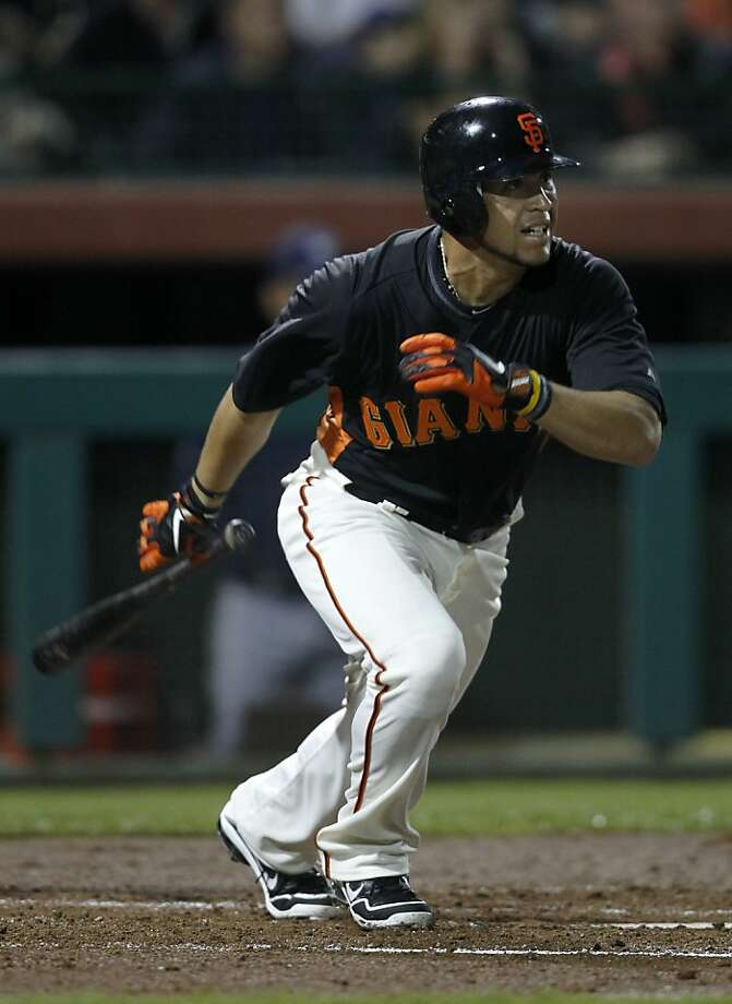 Gregor Blanco singles to right field in the 3rd inning of the San Francisco Giants Cactus League spring training game against the Milwaukee Brewers in Scottsdale, Ariz. on Monday, March 5, 2012. Photo: Paul Chinn, The Chronicle