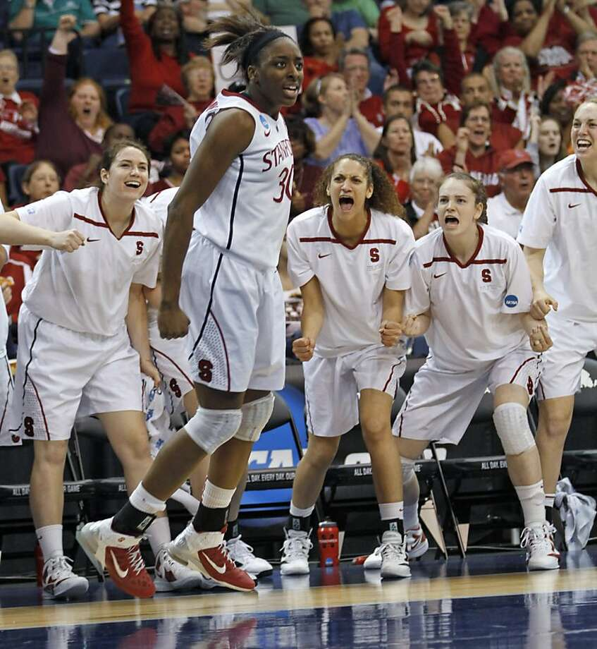 Stanford forward Nnemkadi Ogwumike (30) reacts to a basket and foul call during the second half of an NCAA women's basketball tournament second-round game against West Virginia in Norfolk, Va., Monday, March 19, 2012. Stanford won 72-55. (AP Photo/Steve Helber) Photo: Steve Helber, Associated Press