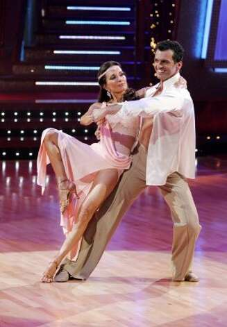 Susan Lucci and partner Tony Dovolani perform in 2008.  (Kelsey McNeal / AP)