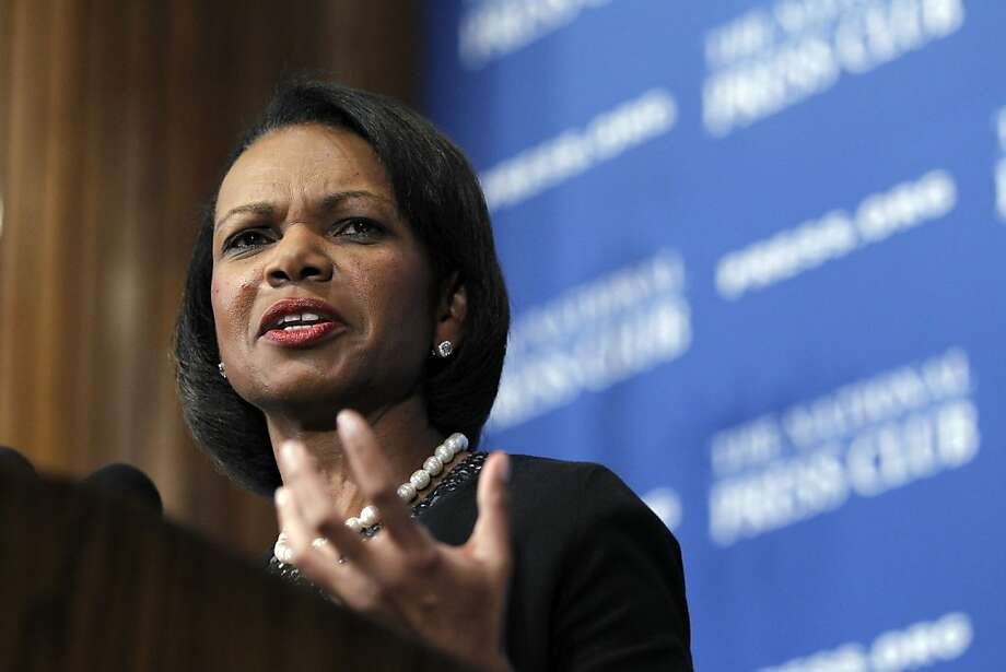 FILE - In this Oct. 15, 2010 file photo, former Secretary of State Condoleezza Rice speaks at the National Press Club in Washington.  The US economic prosperity, global position and physical safety is at risk if America's schools don't improve, warns a task force led by Rice and Joel Klein, the former chancellor of New York City's school system. (AP Photo/Alex Brandon) Photo: Alex Brandon, Associated Press